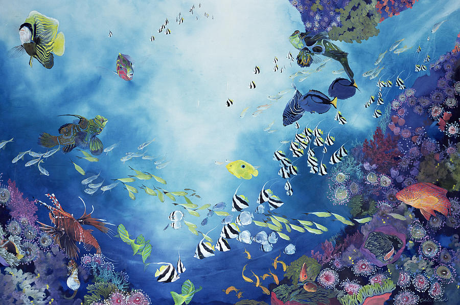 Ocean; Tropical; Coral; Reef; Exotic; Colourful; Striped; Sea; Life; Aquatic; Marine; Fish; Swimming; Colorful Painting - Underwater World IIi by Odile Kidd