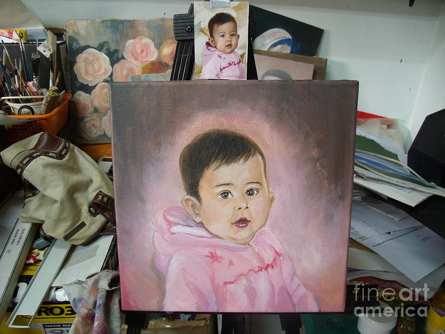 Pink Painting - Unfinished Kylie In Pink by Dindin Coscolluela