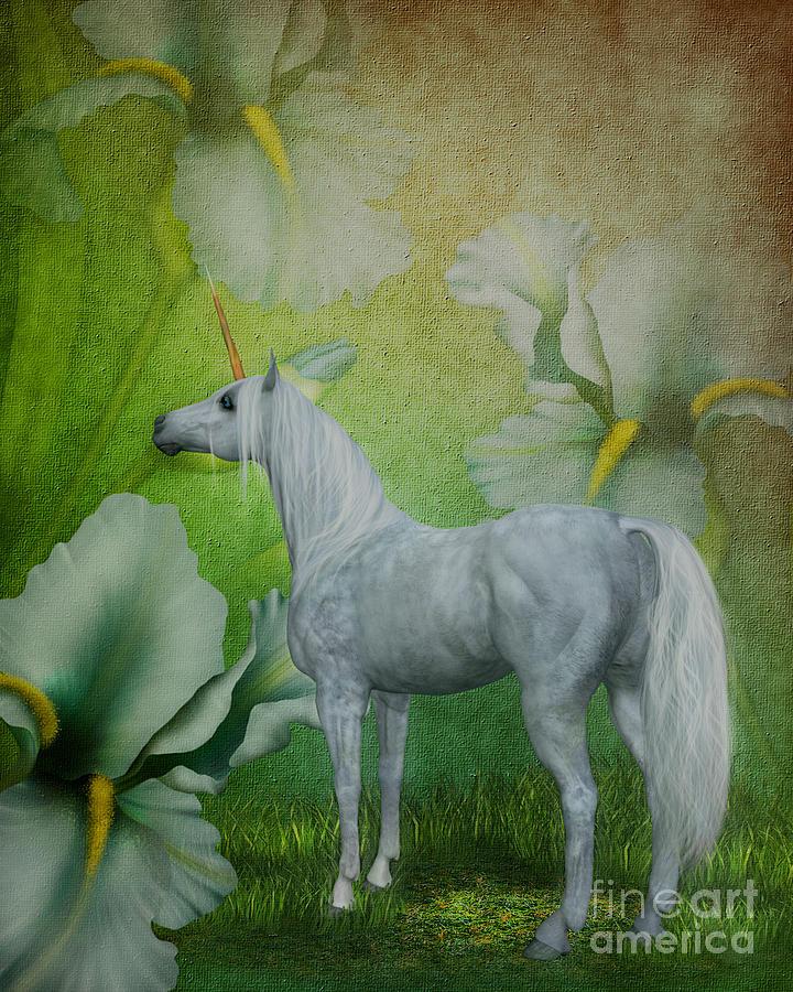 Unicorns Digital Art - Unicorn And Lilies by Smilin Eyes  Treasures