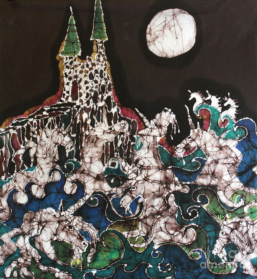 Unicorns Tapestry - Textile - Unicorn In Sea Below Castle by Carol Law Conklin