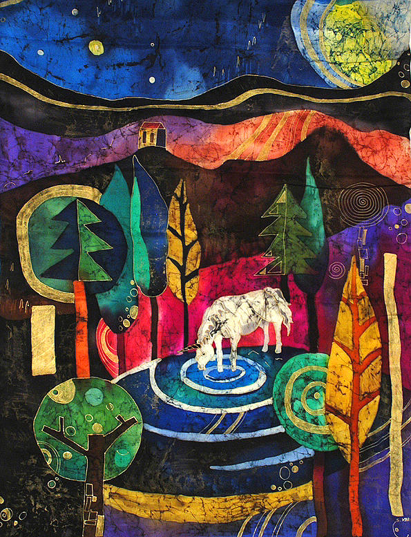 Batik Tapestry - Textile - Unicorn by Sandra Kern
