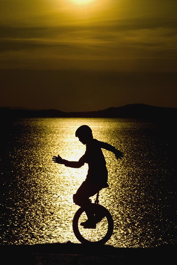 Activity Photograph - Unicycling Silhouette by Deddeda