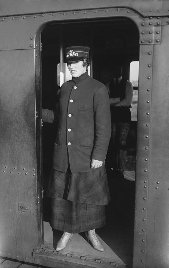 History Photograph - Uniformed Woman Brooklyn Subway Guard by Everett