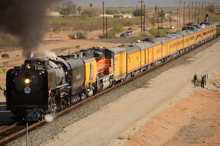 Steam Photograph - Union Pacific Grand Canyon State Steam Special Train Picacho Arizona November 15 2011 by Brian Lockett