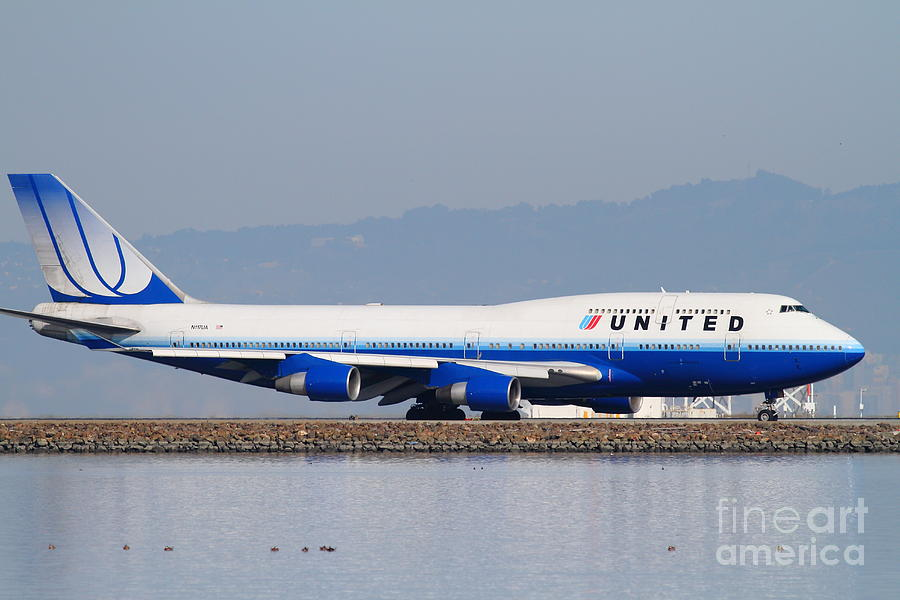 United Photograph - United Airlines Jet Airplane At San Francisco International Airport Sfo . 7d12006 by Wingsdomain Art and Photography