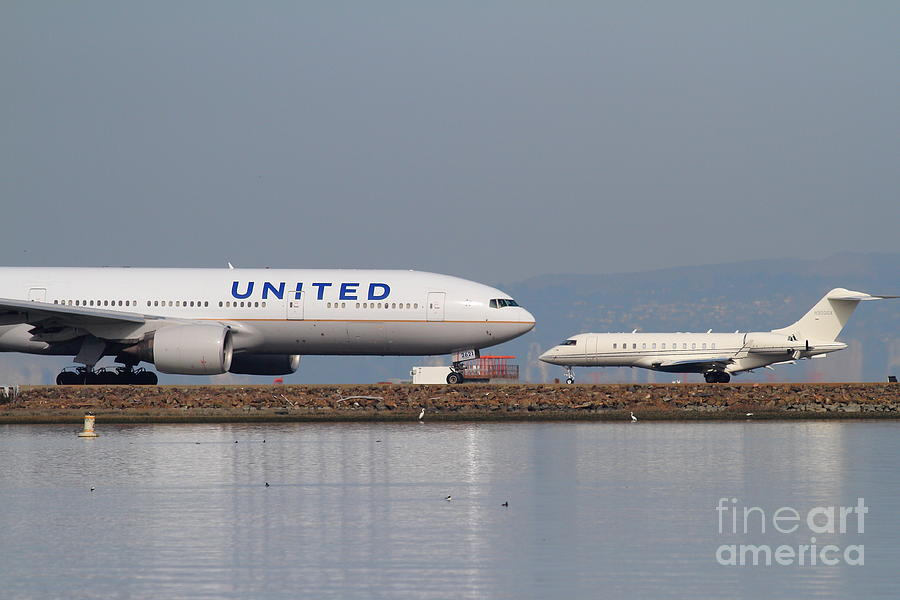 United Photograph - United Airlines Jet Airplane At San Francisco International Airport Sfo . 7d12081 by Wingsdomain Art and Photography