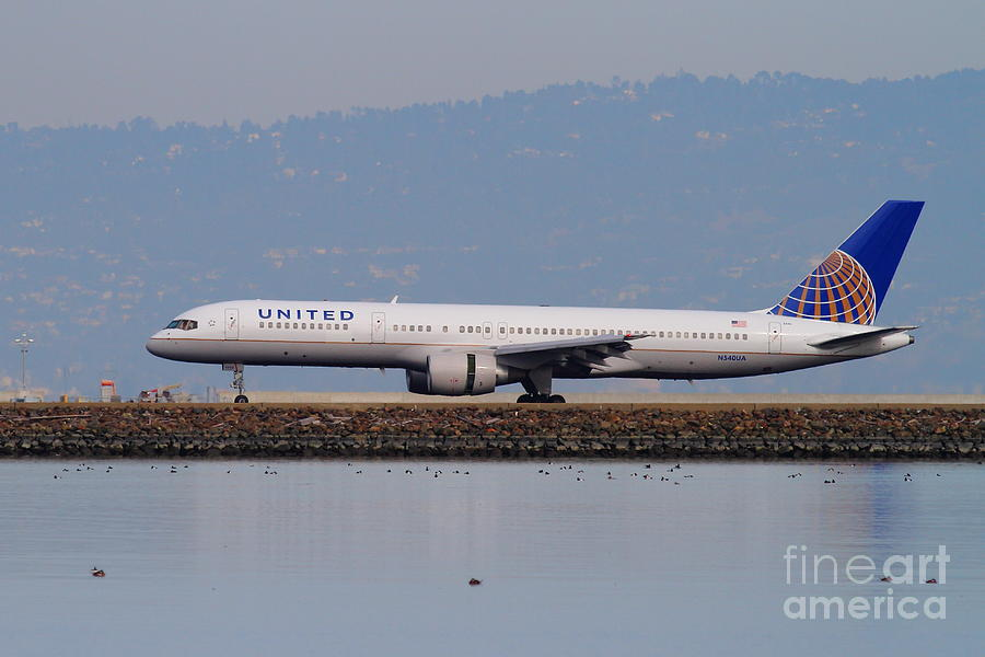 United Photograph - United Airlines Jet Airplane At San Francisco International Airport Sfo . 7d12129 by Wingsdomain Art and Photography
