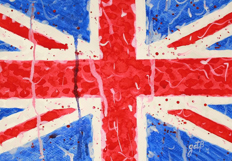 Country Flag Painting - United Kingdom Flag Watercolor Painting by Georgeta  Blanaru