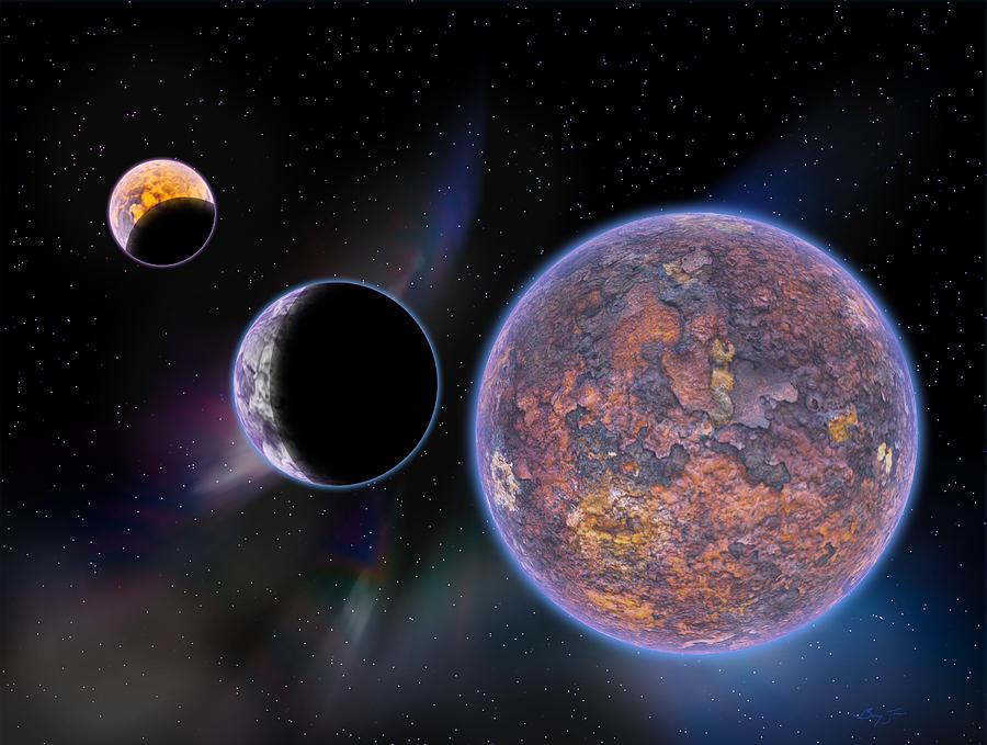 Planets Digital Art - Unknown Worlds by Barry Jones