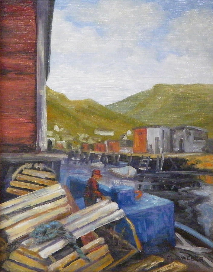 Boat Painting - Unloading by M J Weber