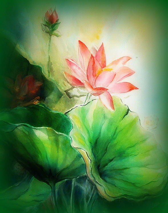 Lotus Painting - Unspoken by Wendy Wiese
