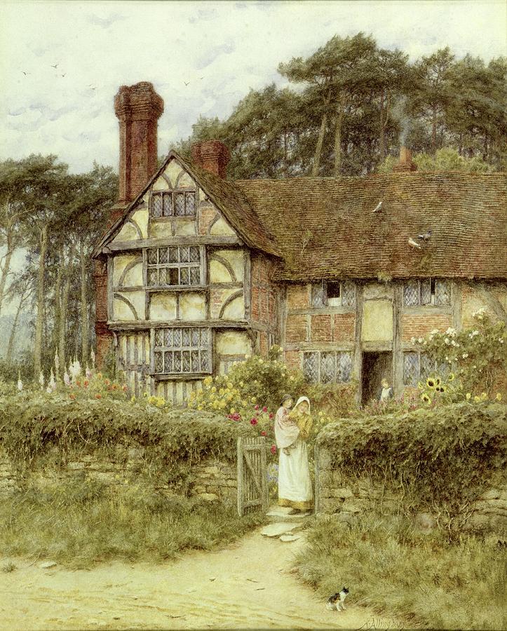 Godalming Painting - Unstead Farm Godalming by Helen Allingham