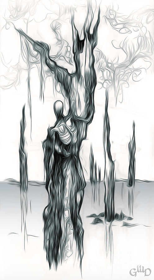 Predicament Painting - Up A Tree Up A Creek by Gregory Dyer