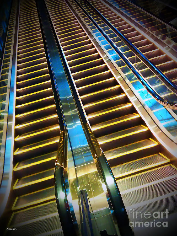 Escalator Photograph - Up And Down by Eena Bo