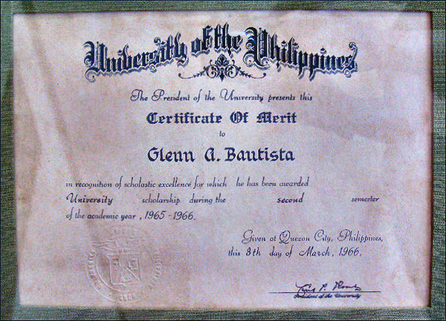 Up Certificate Of Merit 1966 Photograph by Glenn Bautista – Merit Certificate Sample