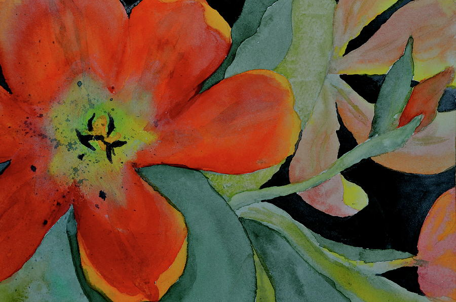 Tulips Painting - Up Front by Beverley Harper Tinsley