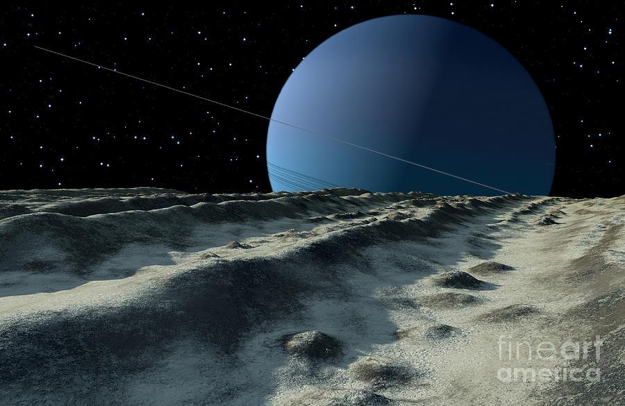 Uranus Moon Miranda Is Covered Digital Art By Ron Miller