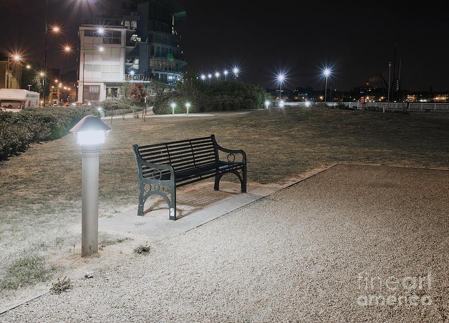 Urban Park Bench At Night Photograph By John Harper