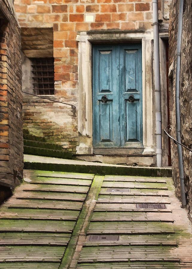 Italy Digital Art - Urbino Door And Stairs by Sharon Foster