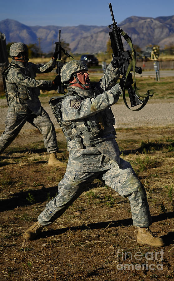 Utah Photograph - U.s. Air Force Soldier Practices by Stocktrek Images