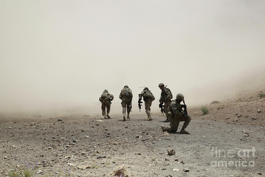 Dust Photograph - U.s. Army Captain Provides Security by Stocktrek Images