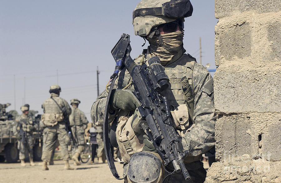 U S Army Soldier Armed With A Mk 48 Photograph By