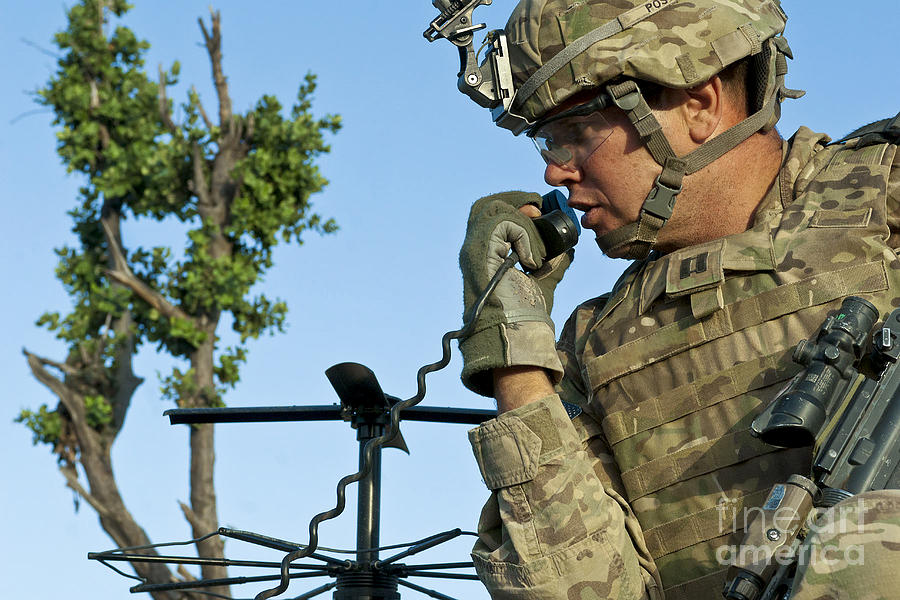 Afghanistan Photograph - U.s. Army Soldier Calls For Indirect by Stocktrek Images