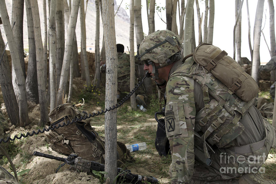 Woods Photograph - U.s. Army Soldier Communicates Possible by Stocktrek Images