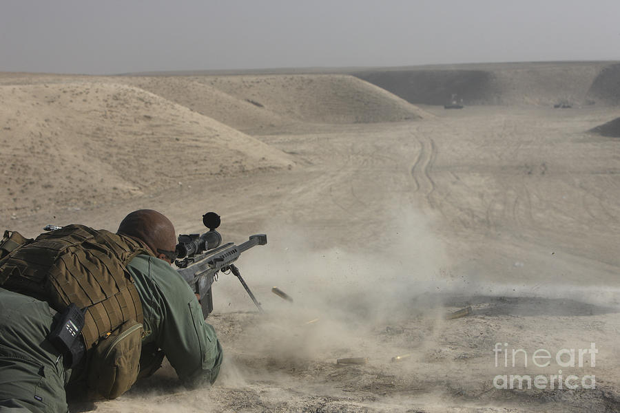 Isaf Photograph - U.s. Army Soldier Fires A Barrett M82a1 by Terry Moore