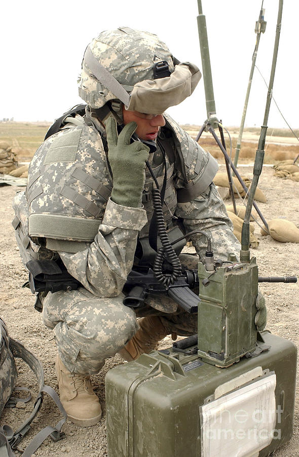 Box Photograph - U.s. Army Soldier Performs A Radio by Stocktrek Images
