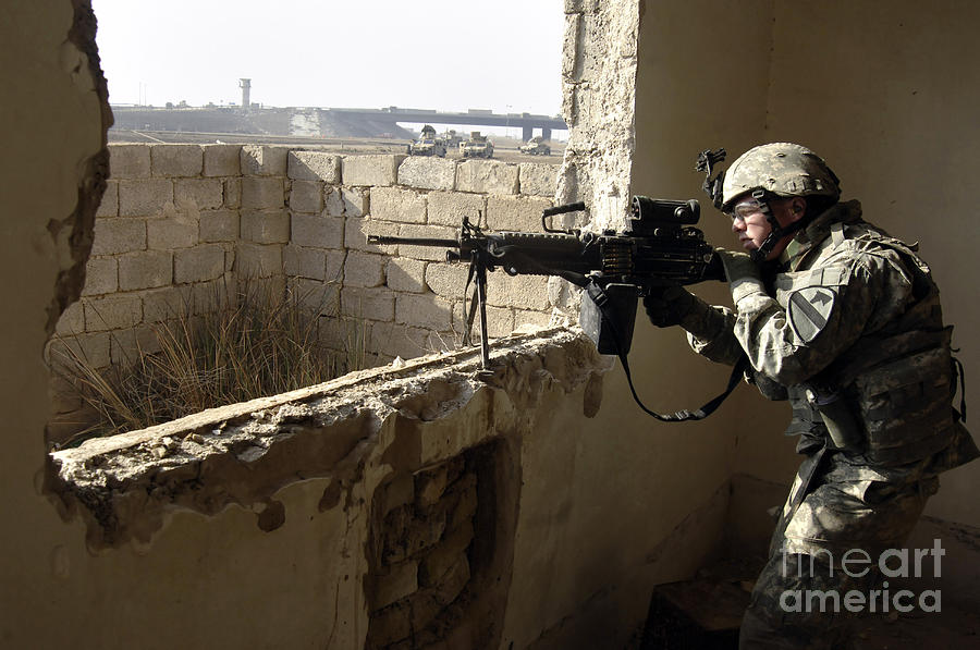 Operation Iraqi Freedom Photograph - U.s. Army Soldier Searching by Stocktrek Images