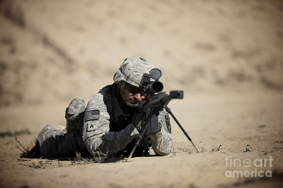 Operation Enduring Freedom Photograph - U.s. Army Soldier Sights In A Barrett by Terry Moore