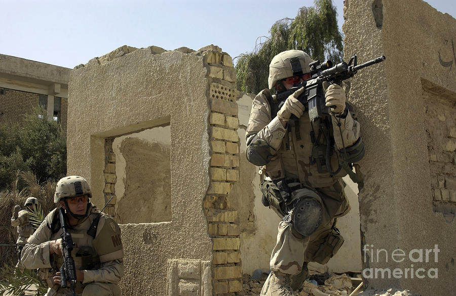 Baghdad Photograph - U.s. Army Soldiers Reacting To Small by Stocktrek Images
