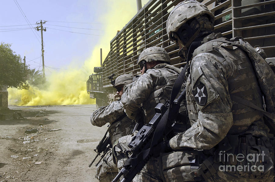 Operation Iraqi Freedom Photograph - U.s. Army Soldiers Using Smoke Grenades by Stocktrek Images