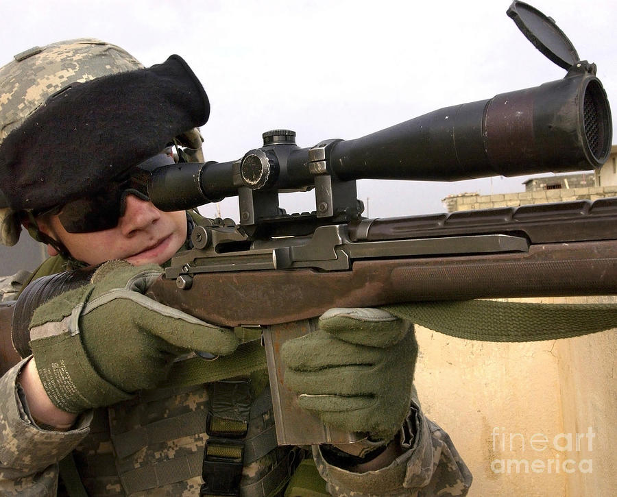 Horizontal Photograph - U.s. Army Specialist Provides Overwatch by Stocktrek Images