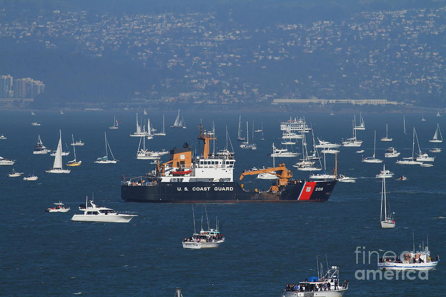 San Francisco Photograph - Us Coast Guard Ship Surrounded By Boats In The San Francisco Bay. 7d7895 by Wingsdomain Art and Photography