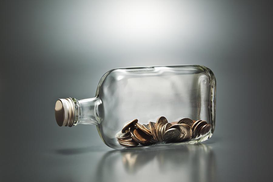 Us Dollar Banknotes   In A Bottle Photograph by Yuji Sakai