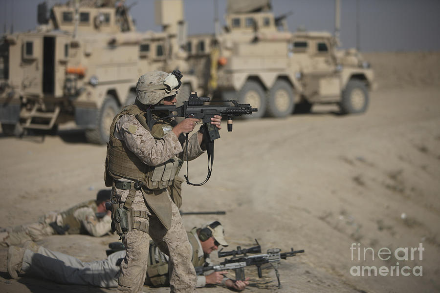Operation Enduring Freedom Photograph - U.s. Marine Fires A G36k Carbine by Terry Moore