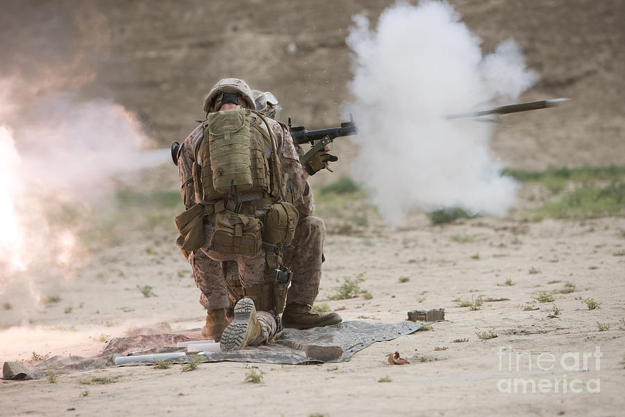 Kunduz Photograph - U.s. Marine Fires A Rocket-propelled by Terry Moore
