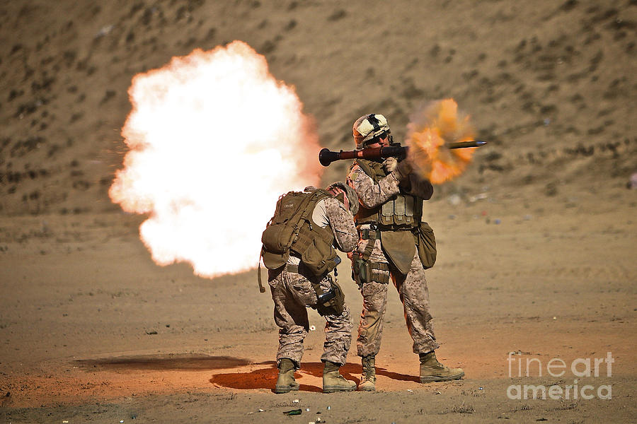 Operation Enduring Freedom Photograph - U.s. Marine Fires A Rpg-7 Grenade by Terry Moore