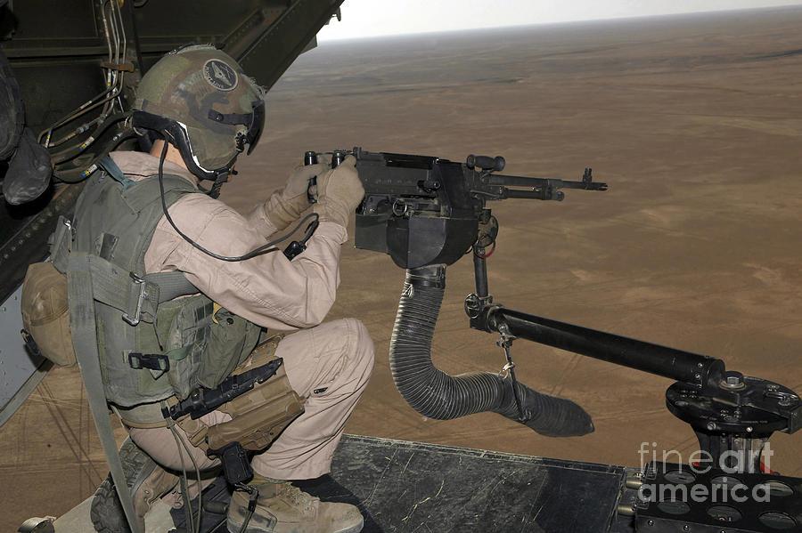 Iraq Photograph - U.s. Marine Test Firing An M240 Heavy by Stocktrek Images