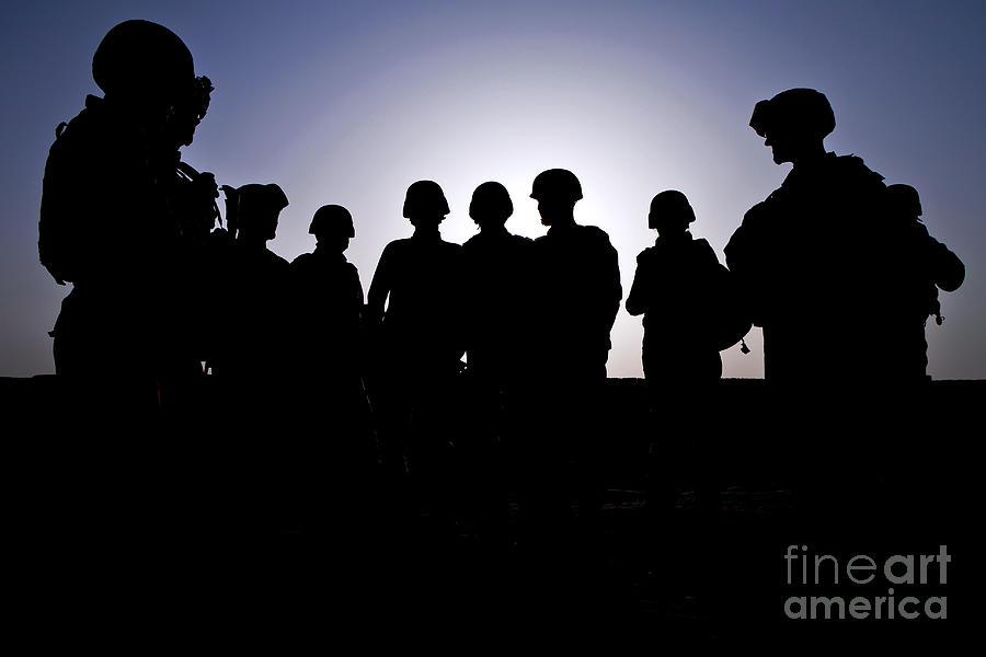 Afghanistan Photograph - U.s. Marines And Civilian Contractors by Stocktrek Images