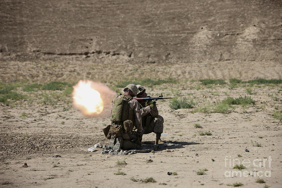 Kunduz Photograph - U.s. Marines Fire A Rocket-propelled by Terry Moore