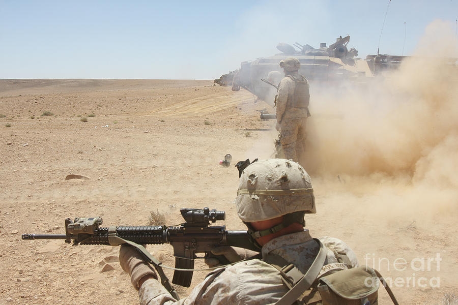 Dust Photograph - U.s. Marines Fire Several by Stocktrek Images