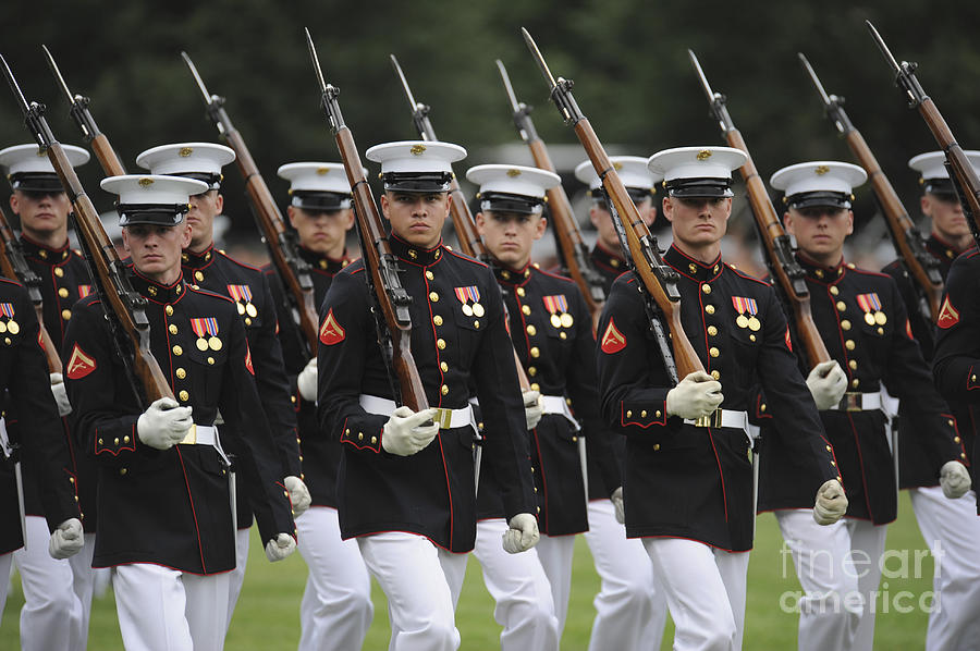Parade Photograph - U.s. Marines March By During The Pass by Stocktrek Images