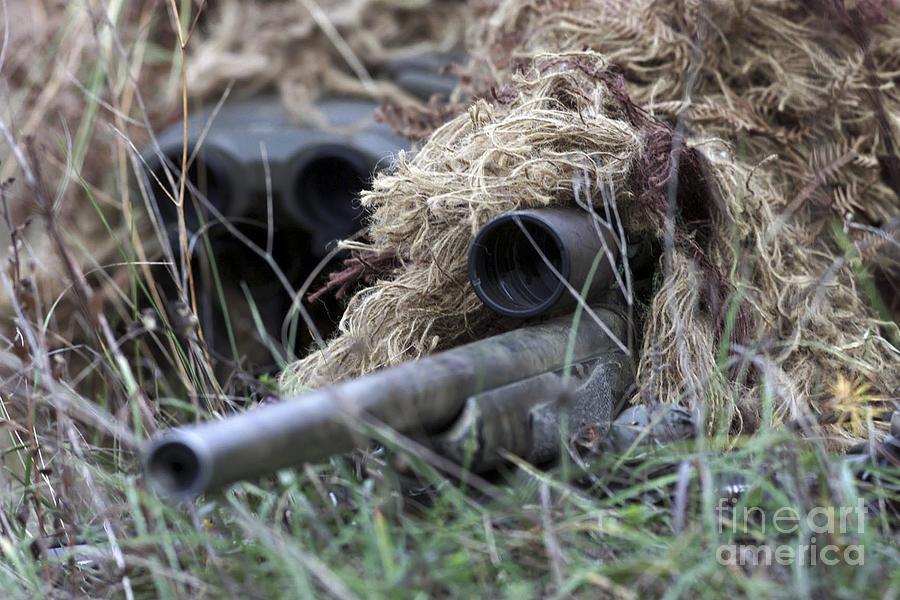 Bilateral Photograph - U.s. Marines Practice Stalking by Stocktrek Images