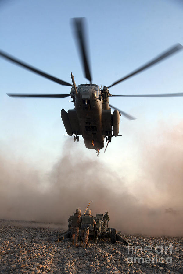Blue Sky Photograph - U.s. Marines Preparing To Attach An by Stocktrek Images