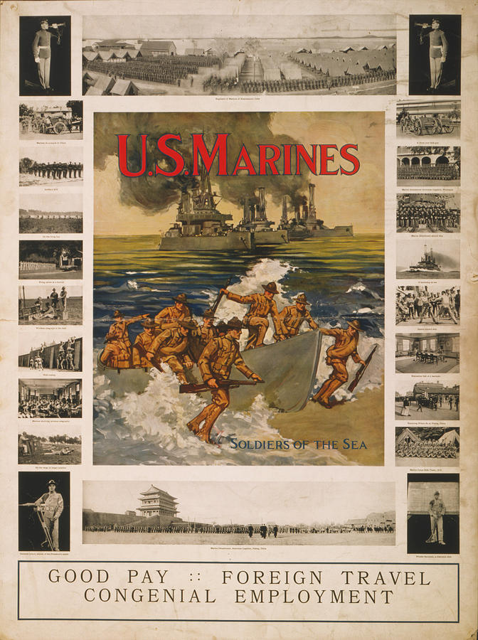 1910s Photograph - U.s. Marines Recruitment Poster Showing by Everett