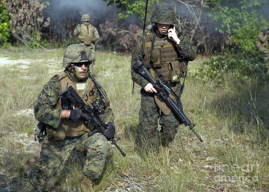 Foreign Military Photograph - U.s. Marines Secure A Perimeter by Stocktrek Images