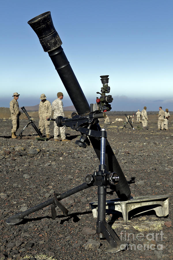 81mm Mortar System : U s marines set up m mm mortar photograph by